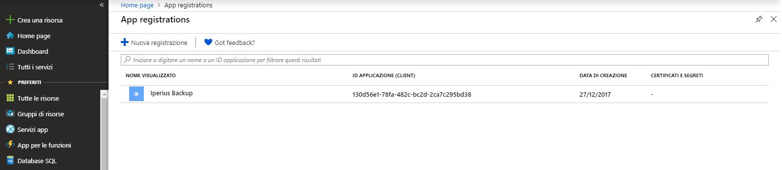 Abilitare OneDrive API e ottenere le credenziali client