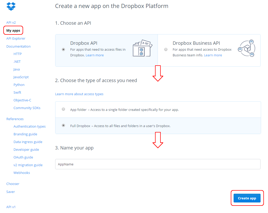 Create a Dropbox App and get the authentication token