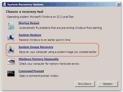 Restore your computer from a system image backup