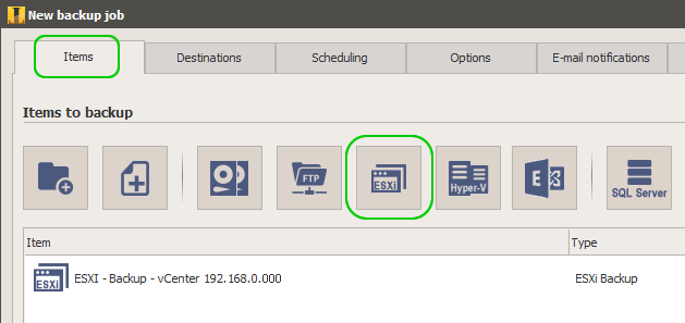Backup ESXi, vCenter, ESXi Free and Replication with Iperius