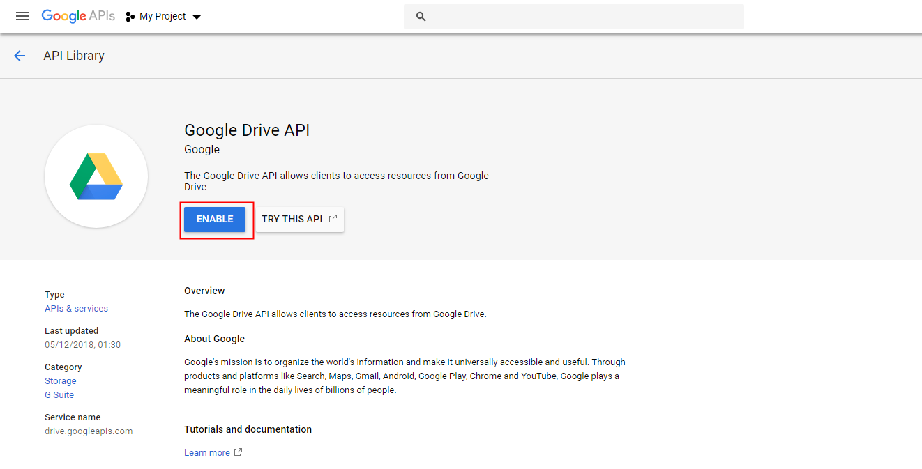 How to enable Google Drive API and get client credentials