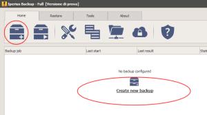 Create a new backup job