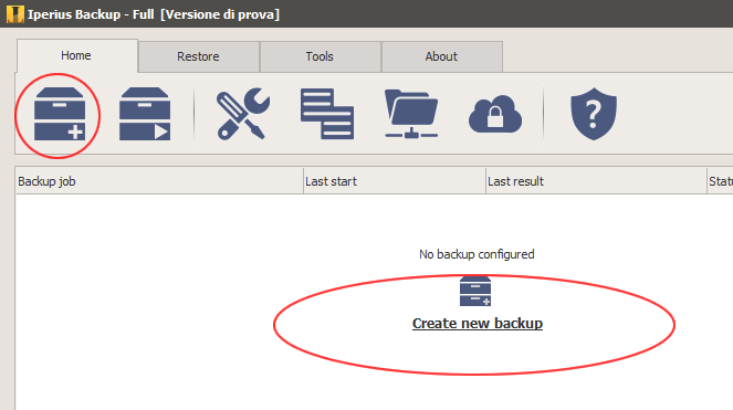 Create a new backup job