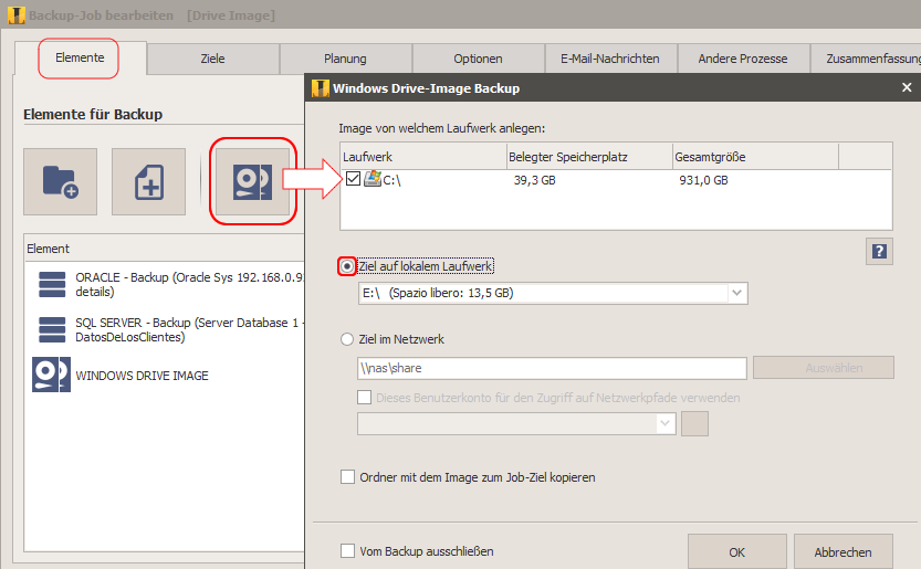 system backup auf externe festplatte