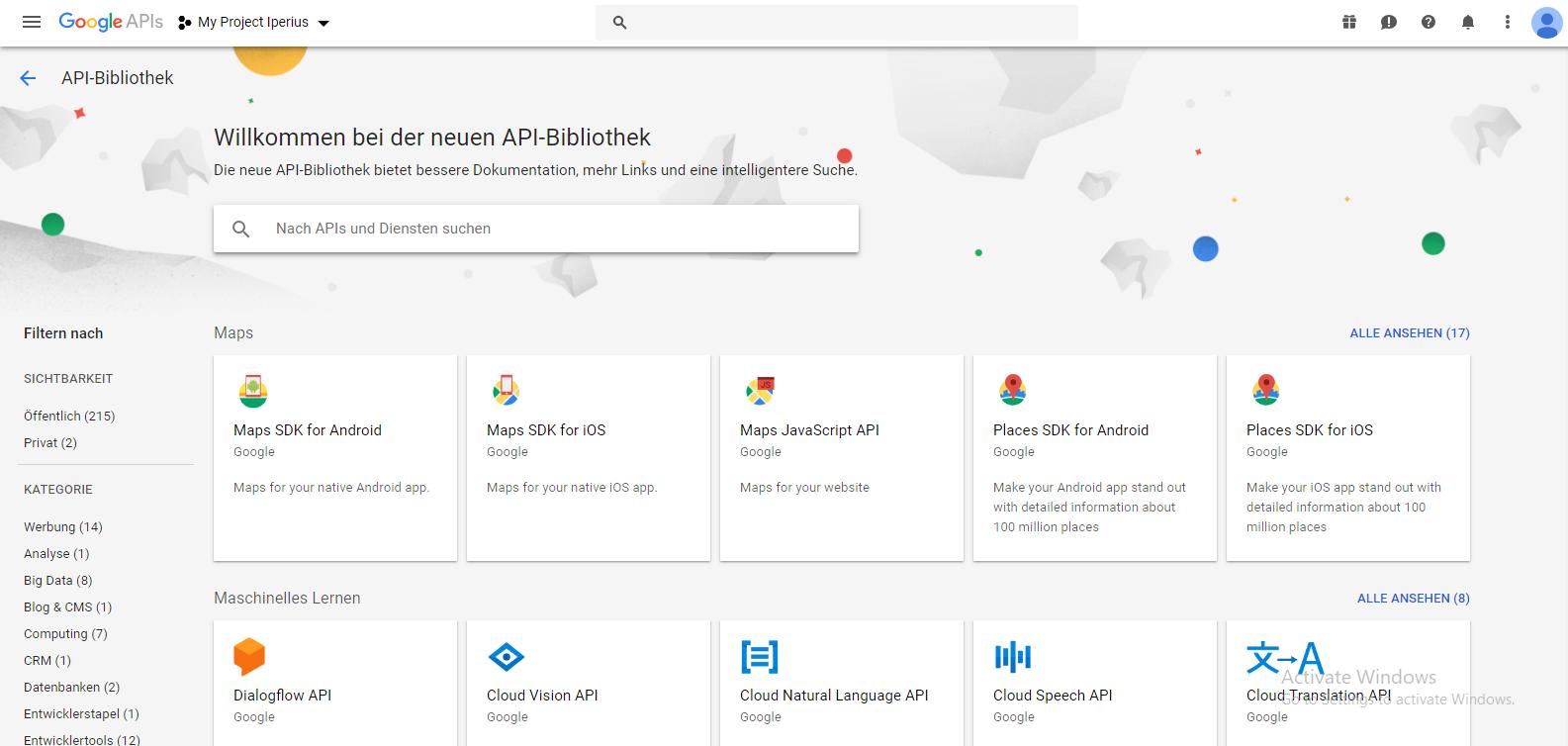 Die API Google Drive aktivieren und die Authentifizierungsdaten ...