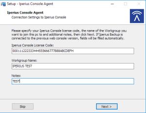 Setup Iperius Console Agent - Configuration Wizard