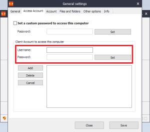 Iperius Remote - Access Account window