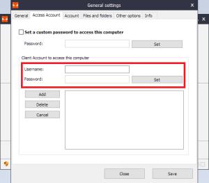 Iperius Remote - Access Account window