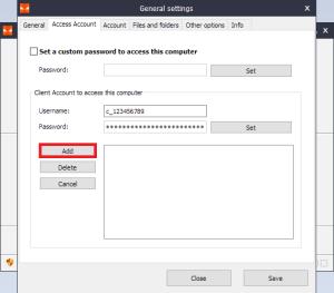 Iperius Remote - Access Account - Add Account
