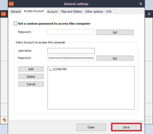 Iperius Remote - Access Account - Save changes