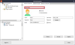 Iperius Remote - Modifica dell'utente