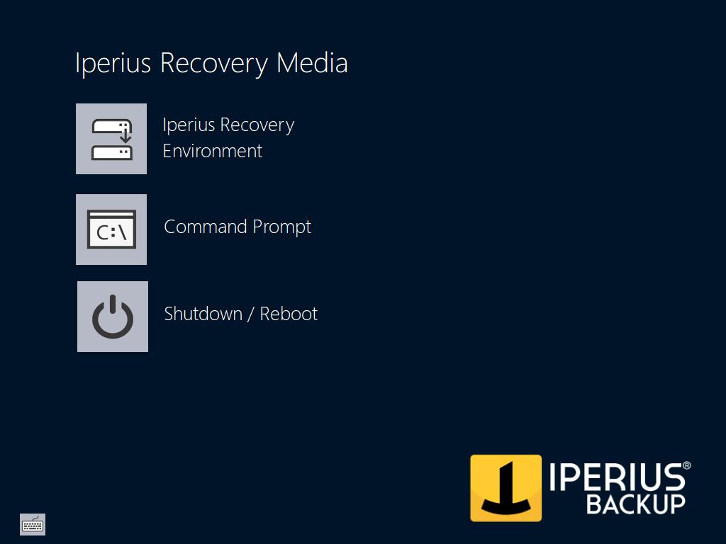 Entorno de recuperación de Iperius: ventana principal