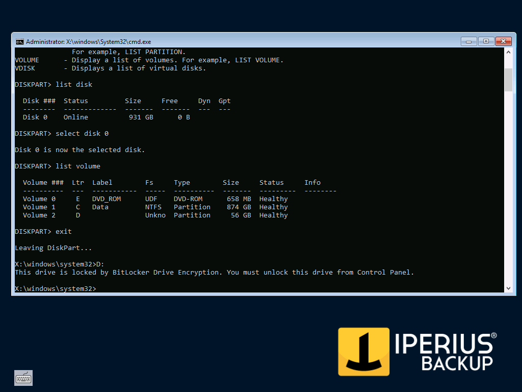Restore a BitLocker Drive Image Backup with Iperius Recovery
