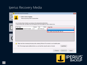 Iperius Recovery Environment - Select Restore Mapping