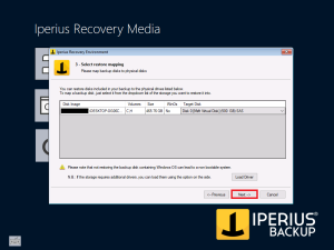 Iperius Recovery Environment - Restore Mapping selected