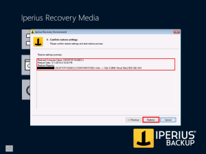 Iperius Recovery Environment - Confirm Restore settings