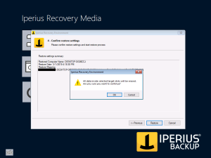 Iperius Recovery Environment - Starting Restore