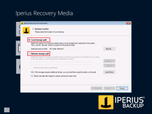 Iperius Recovery Environment - Path selection