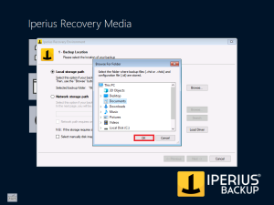 Iperius Recovery Environment - Local storage path