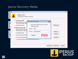 Iperius Recovery Environment - Network Credentials