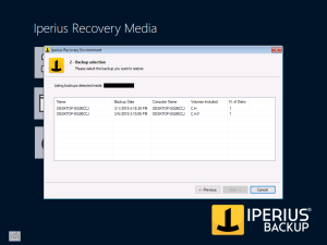 Iperius Recovery Environment - Select your backup