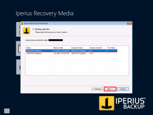 Iperius Recovery Environment - Backup Selection 2