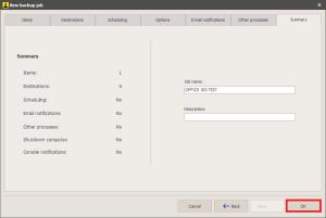 Office 365 - Save Backup Operation