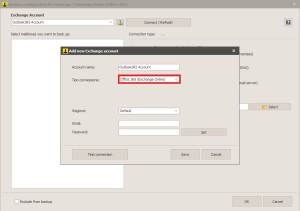 Office 365 - Select Exchange backup type