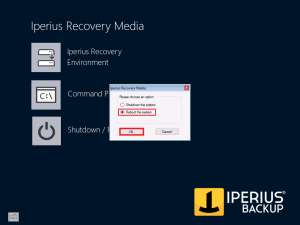 Iperius Recovery Environment - Reboot system