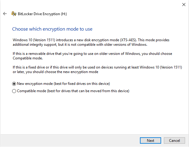 BitLocker: drive encryption on Windows 10 with a recovery key