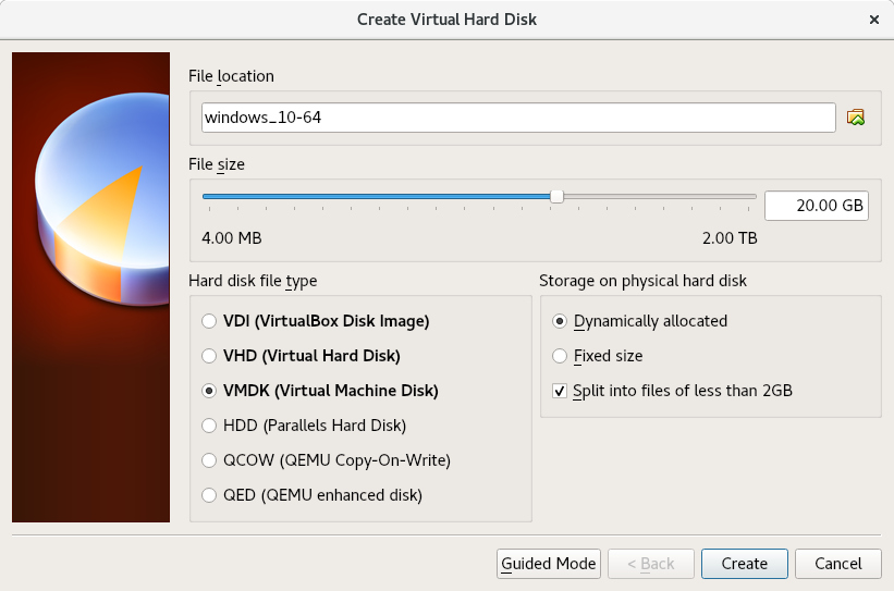 VirtualBox create HD