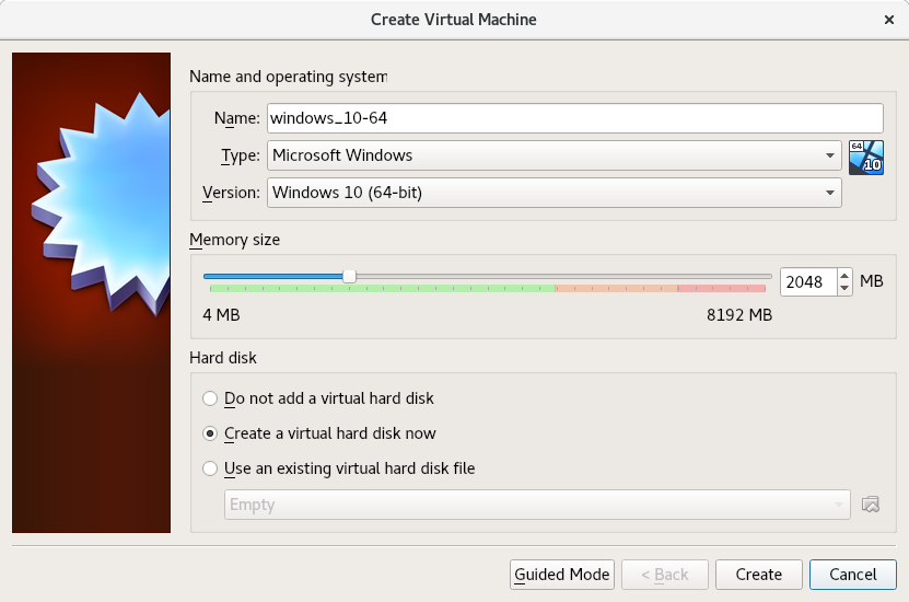 VirtualBox create Virtual Machine