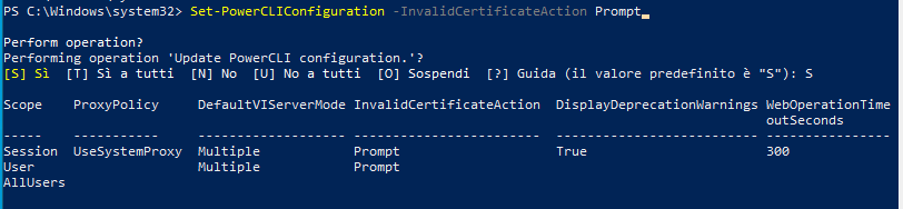 set powercli configuration