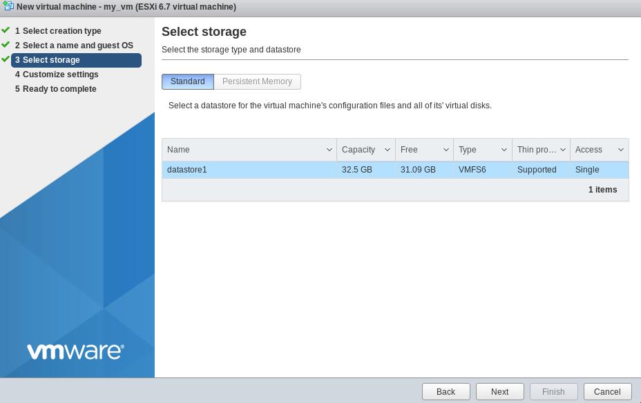 vsphere web vm create storage